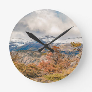 Forest and Snowy Mountains, Patagonia, Argentina Round Clock