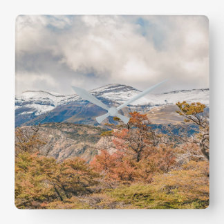 Forest and Snowy Mountains, Patagonia, Argentina Square Wall Clock