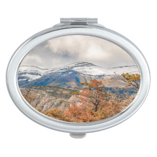 Forest and Snowy Mountains, Patagonia, Argentina Vanity Mirror