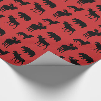 Forest Animals on Red Wrapping Paper