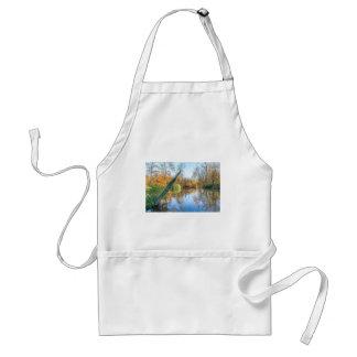 Forest autumn landscape with pond standard apron