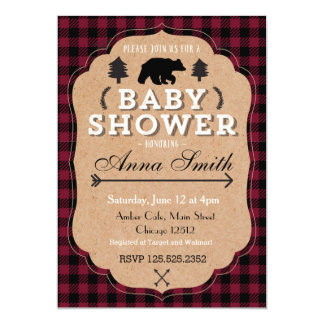 Forest bear baby shower invitation