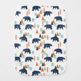 Forest Bear / Orange Mint Navy Blue /Andrea Lauren Baby Burp Cloths