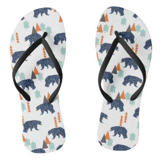 Forest Bear / Orange Mint Navy Blue /Andrea Lauren Flip Flops
