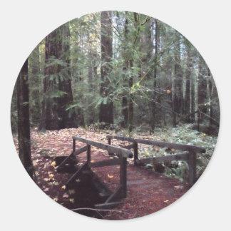 Forest Bridge- Humboldt Redwoods State Park Round Sticker