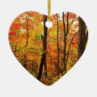 Forest Crimson Appalachian Mountains Ceramic Heart Ornament