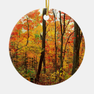 Forest Crimson Appalachian Mountains Round Ceramic Ornament