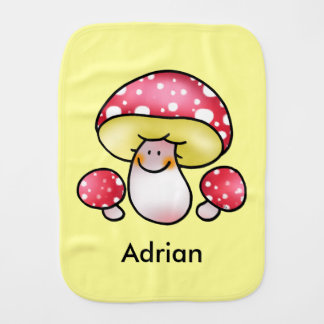 forest cute red mushrooms - just add name burp cloth