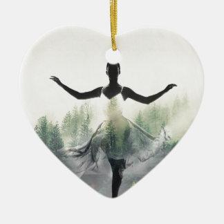 Forest Dancer Ceramic Heart Ornament