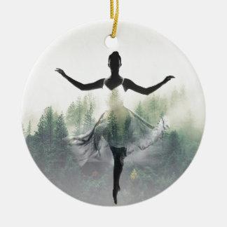 Forest Dancer Round Ceramic Ornament