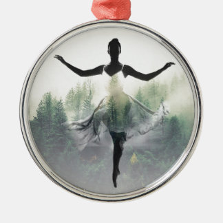 Forest Dancer Silver-Colored Round Ornament