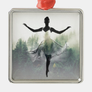 Forest Dancer Silver-Colored Square Ornament