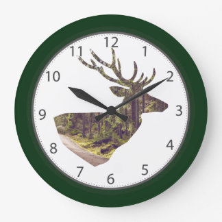 Forest Deer Head Forest Green Large Clock