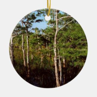 Forest Dwarf Cypress Everglades Florida Round Ceramic Ornament