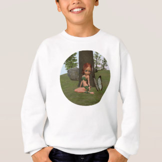 Forest Elf Girl and Butterfly Sweatshirt
