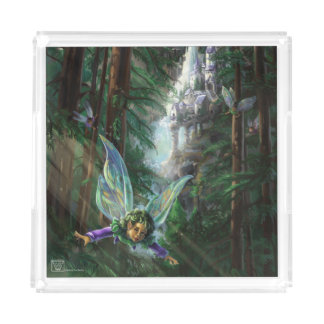 Forest Faires and Waterfall Castle Acrylic Tray