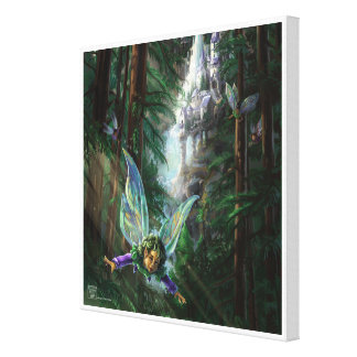 Forest Faires and Waterfall Castle Canvas Print