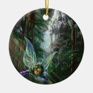 Forest Faires and Waterfall Castle Ceramic Ornament