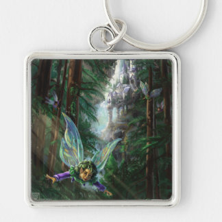 Forest Faires and Waterfall Castle Keychain