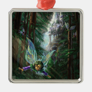 Forest Faires and Waterfall Castle Metal Ornament