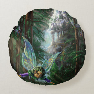Forest Faires and Waterfall Castle Round Pillow