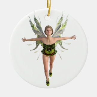 Forest Fairy Flying to the Front Round Ceramic Ornament