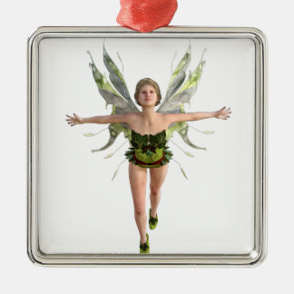 Forest Fairy Flying to the Front Silver-Colored Square Ornament