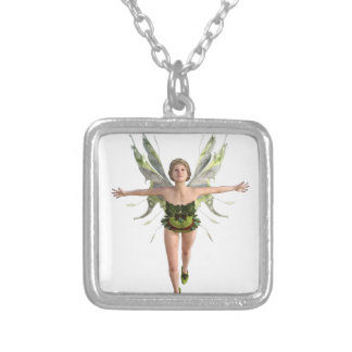 Forest Fairy Flying to the Front Silver Plated Necklace