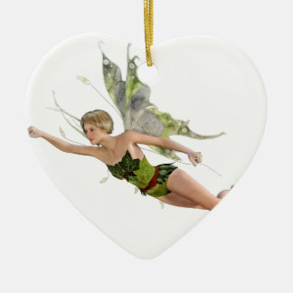 Forest Fairy Flying to the Right Ceramic Heart Ornament