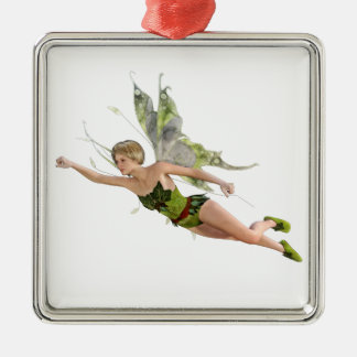 Forest Fairy Flying to the Right Silver-Colored Square Ornament