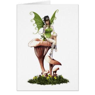 Forest Fairy On Mystical Mushrooms Card
