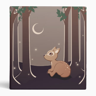 Forest Fawn With Fireflies And Moon Art 3 Ring Binder