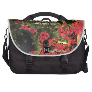 Forest, flowers ,wall  with spititual message commuter bags