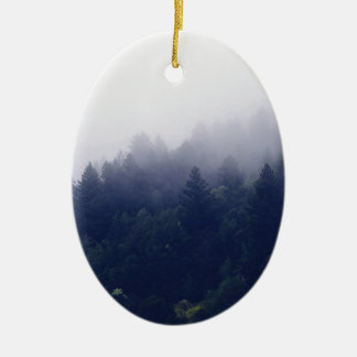 Forest Fog Ceramic Oval Ornament