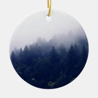 Forest Fog Round Ceramic Ornament