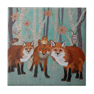 FOREST FOXES & ANTLER OWLS Tile