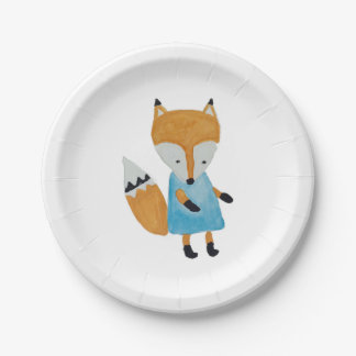 Forest Friends Adorable little Woodland Fox Paper Plate