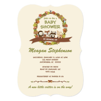 Forest Friends Baby Shower Invitation Fox Racoon