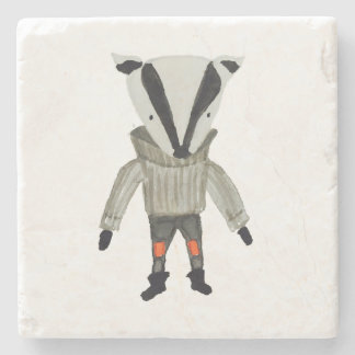 Forest Friends Cute Little Badger Stone Coaster