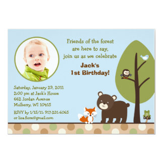 Forest Friends Forest Animal Birthday Invitations