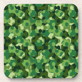 Forest geometric camouflage coaster