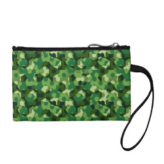 Forest geometric camouflage coin wallet