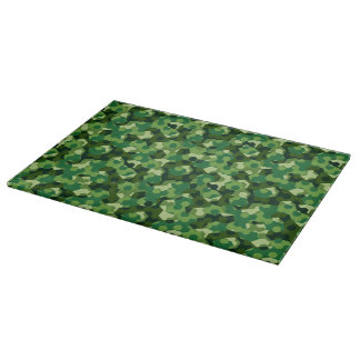Forest geometric camouflage cutting board
