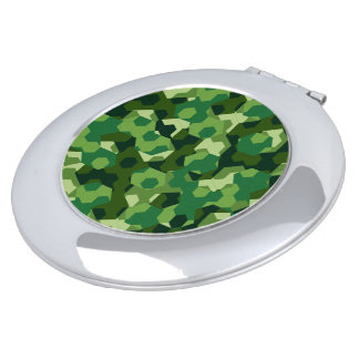 Forest geometric camouflage mirror for makeup