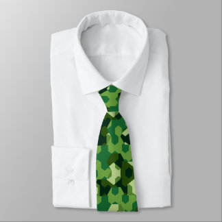 Forest geometric camouflage tie