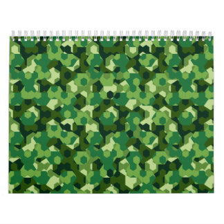 Forest geometric camouflage wall calendars