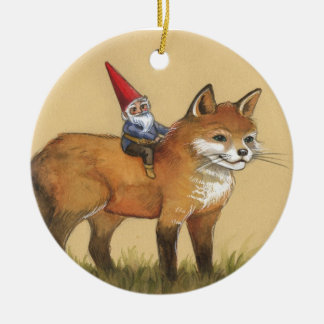 Forest Gnome and Red Fox Round Ceramic Ornament
