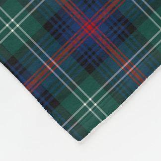 Forest Green and Dark Blue Sutherland Clan Tartan Fleece Blanket
