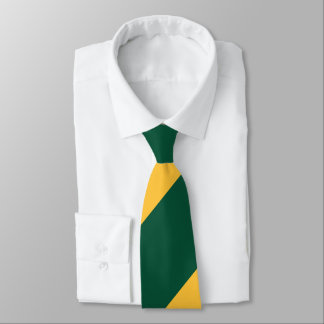 Forest Green and Gold Broad Regimental Stripe Tie