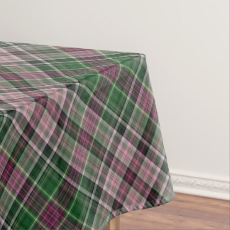 Forest green and mulberry plaid tablecloth